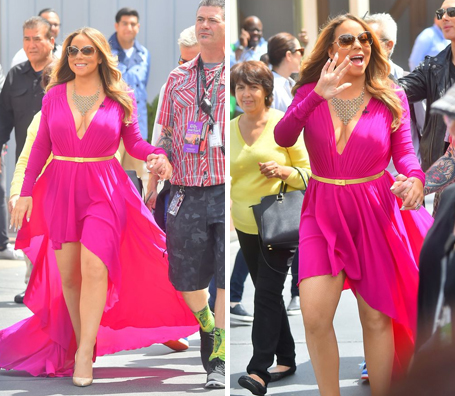 Mariah Carey Steps Out In Show Stopping Hot Pink Dress